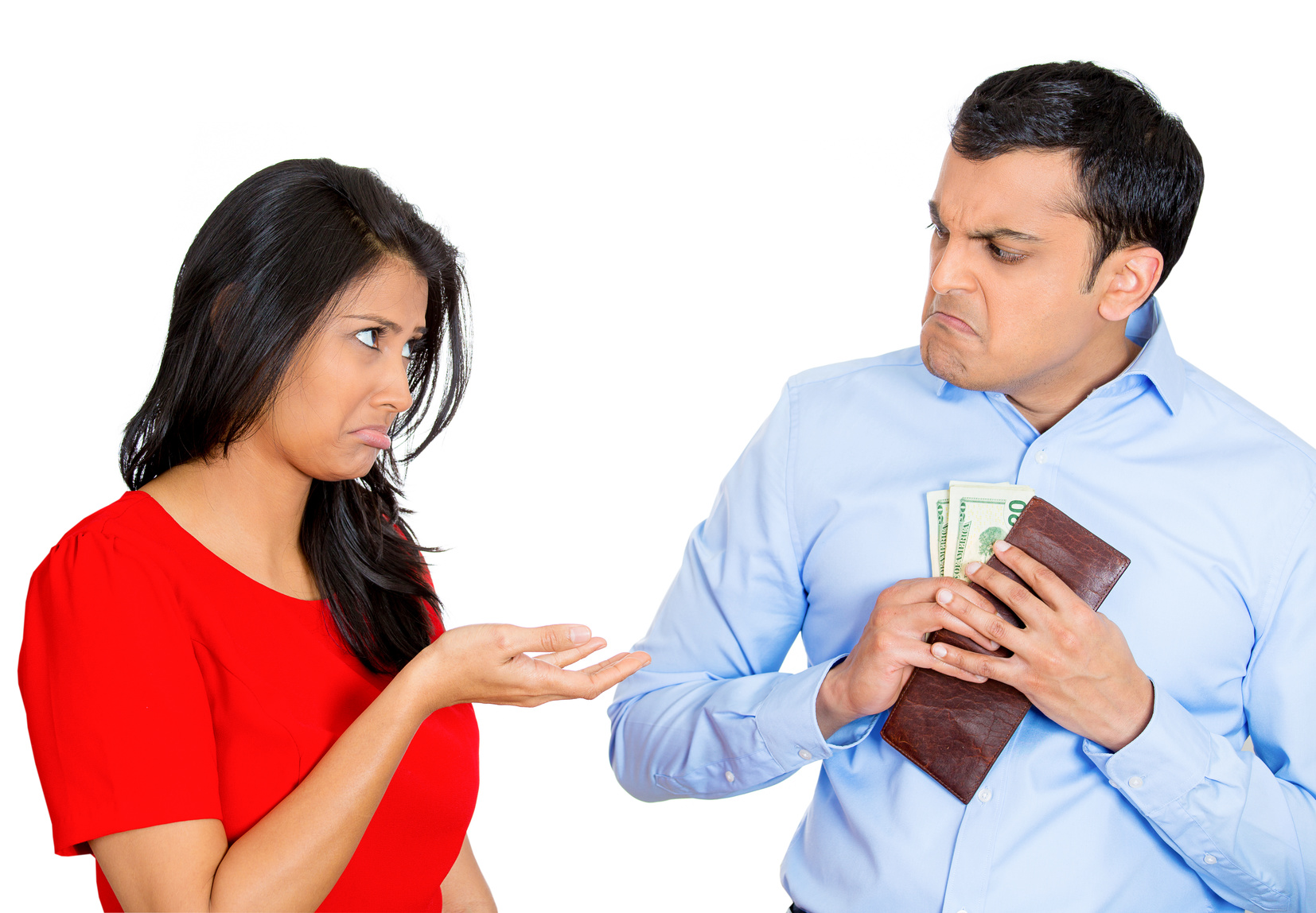 Woman asking for money from angry man with wallet
