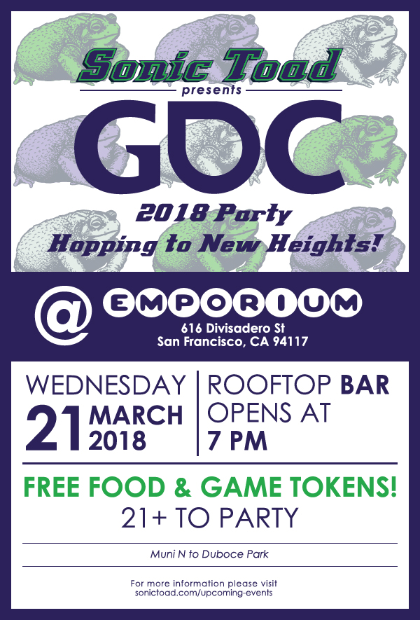 Details for the Sonic Toad Media 2018 GDC party