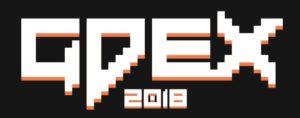 Pixellated GDEX 2018 logo